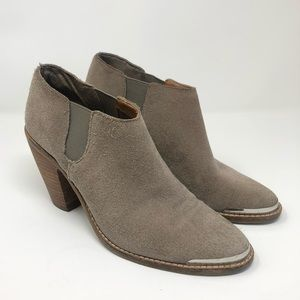 Dolce Vita Suede Booties Heeled Taupe Gray 8.5